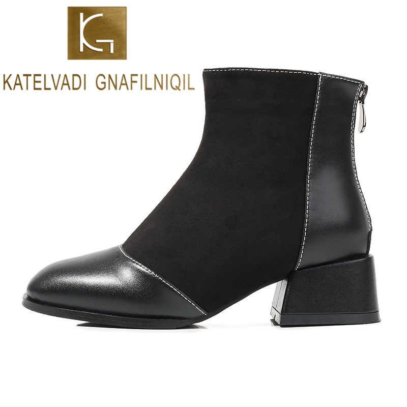 KATELVADI Autumn Winter Boots Women Flock with PU Black Ankle For 4CM Thick Heel Zip Ladies Shoes  K-529