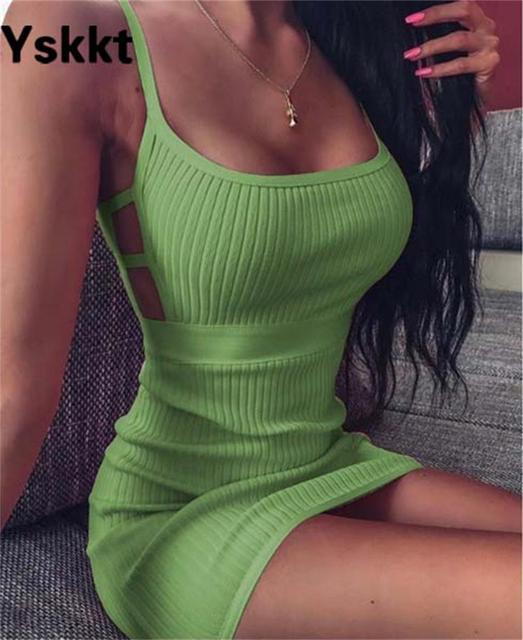 Yskkt Women Solid Spaghetti Strap Bodycon Dress Fashion Ladies Slim Fit Club Party Sexy Package Hip Mini Dresses 2020 5
