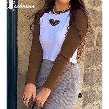 Rockmore brązowy Patchwork Leopard serca T koszula kobiety Y2K z długim rękawem przycięte na co dzień Skinny bawełniana Basic koszulka jesień Tee topy