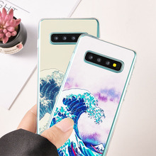 цены на Cover For Samsung Galaxy S 9 8 Plus Phone Case For Samsung Note 8 S 7 Edge Soft Silicone The Great Wave off Kanagawa Cases  в интернет-магазинах