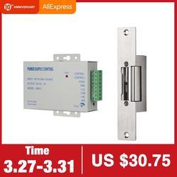 TMEZON Electric Strike Lock 좁은 유형 전기 도어 잠금 장치 (다른 도어 용 전원 공급 장치 제어 포함) NC 모드 실패 안전 액세스