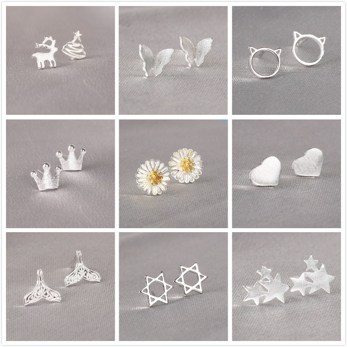 REETI Crown Stud Earring 925 Sterling Silver Earrings For Women Gift Sterling-silver-jewelry Pendientes Mujer