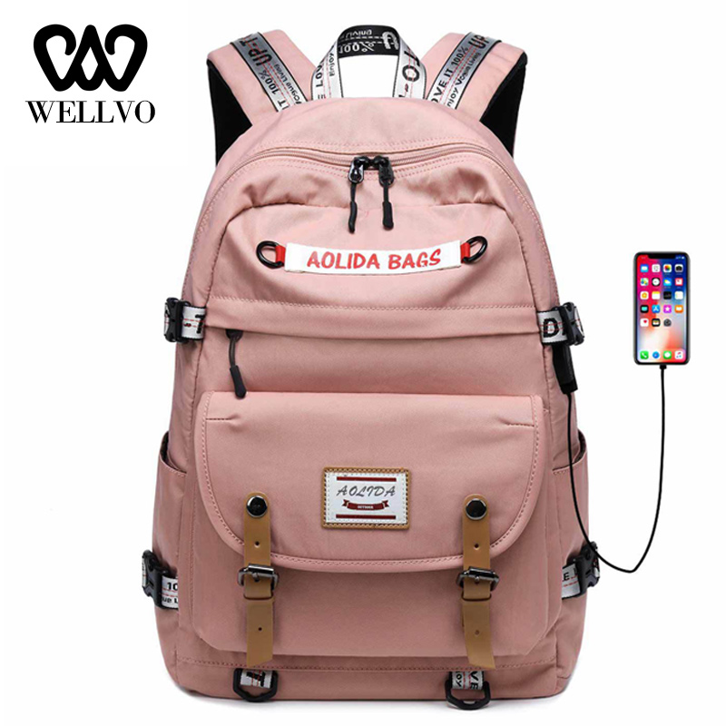 Women USB Charging Backpack Oxford Travel Backpack Male Mochila Escolar Laptop Backpack School Bags Girls College Bagpack XA805B