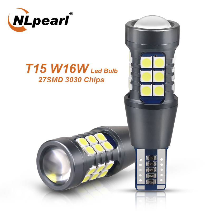 NLpearl 2x сигнальная лампа W16W светодиодный T15 921 912 лампы Супер яркий 3030 27SMD T15 светодиодный Canbus Авто резервная задние фонари светодиодные лампы ...