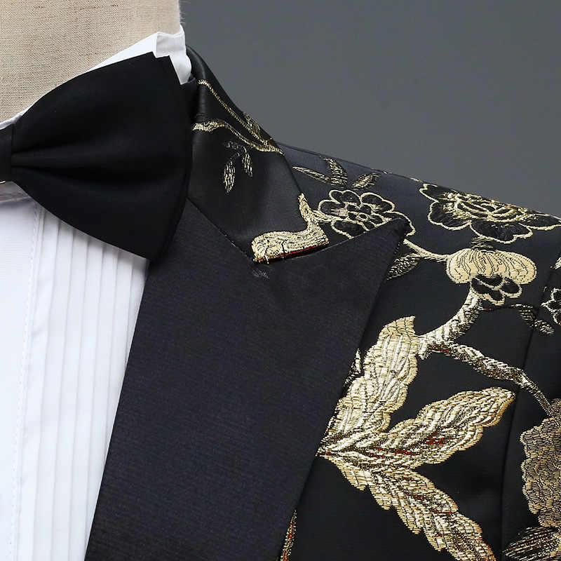 Nowy projekt mężczyzna stylowy haft królewski niebieski zielony czerwony kwiatowy wzór garnitury sceniczne piosenkarka ślub smoking pana młodego kostium