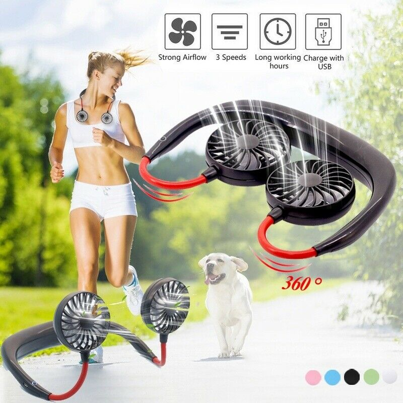 USB Rechargeable Wearable Portable Personal Mini Neck Double Fans Wearable Portable Neckband Mini Fan For Indoor Outdoor Office