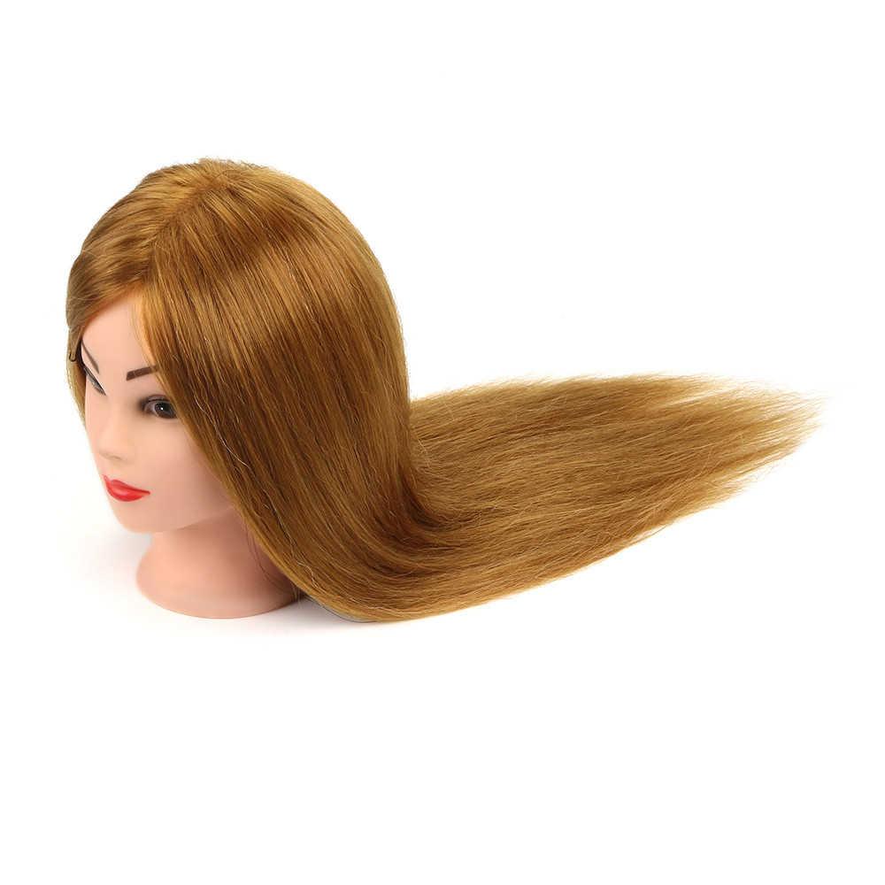 Neverland Professionele Blonde Mannequin Hoofd Met 60% Natuurlijk Menselijk Haar Praktijk Curling Salon Kapper Training Hoofd Met Stand