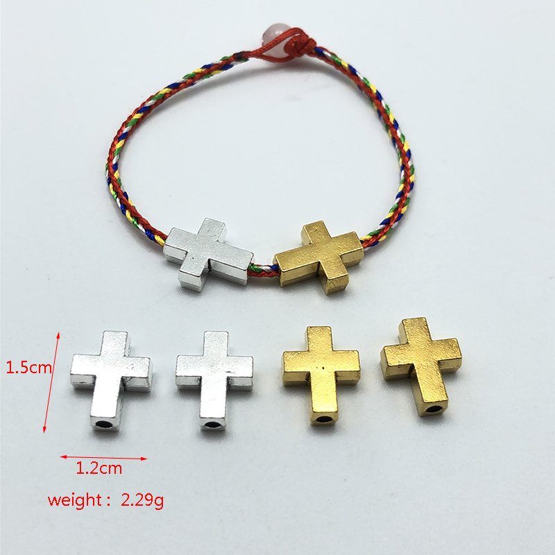 10pcs Cross Islam Faith Connection Perforated Beads For Jewelry Making DIY Handmade Bracelet Necklace Accessories