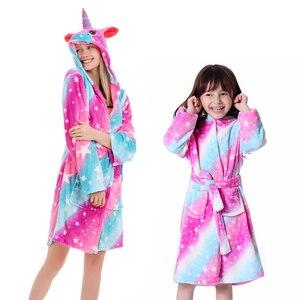 Unicorn Hooded Towel Children Bathrobes Kids Star Animal Bath Robe Animal Robes For Boys Girls Pyjamas Nightgown Kids Sleepwear