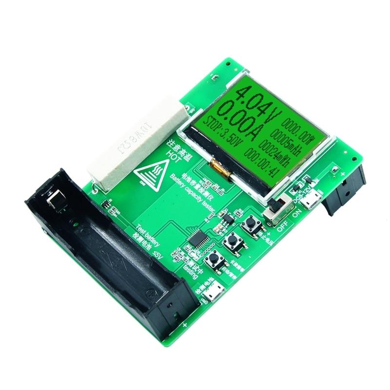 18650 тестер емкости литиевой батареи er мАч MWh, модуль детектора внешнего аккумулятора 128X64, тестер емкости аккумулятора с ЖК-дисплеем 0 ~ 9999 мАч ...