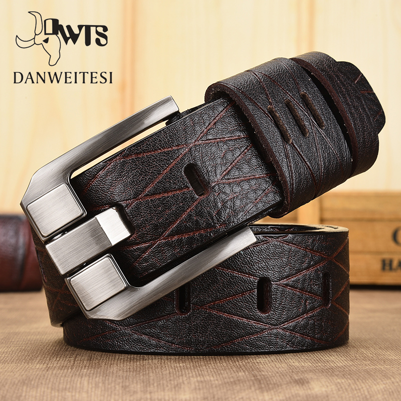 [DWTS]belt Male Leather Belt Men Genuine Leather Strap Luxury Pin Buckle Casual Men Belt Ancy Vintage Jeans High Quality