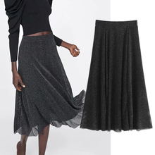 2019 autumn midi skirt women england style Metal wire texture Elegant faldas mujer moda A-line long skirts womens