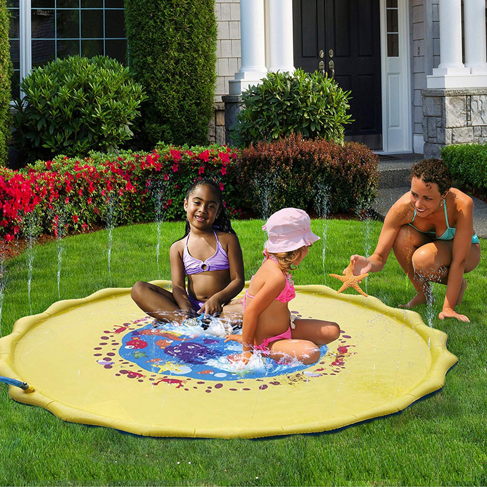 170 CM Inflatable Kids Rug Water Mat Inflatable Spray Water Cushion Baby Play Mat Beach Lawn Games Pad Sprinkler Play Toys
