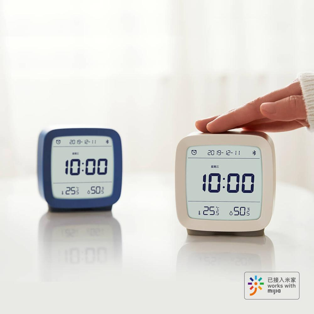 Xiaomi Alarm Clock Bluetooth Digital Thermometer Temperature and Humidity Monitoring Soft Night Light 3 In 1 Work with Mijia App image