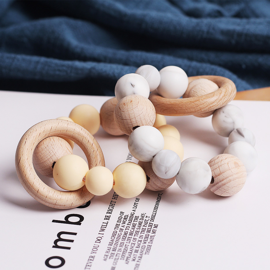 Beech Baby Bracelet Jewelry Teething For Baby Organic Wood Silicone Beads Baby Rattle Stroller Accessories  Baby Toys
