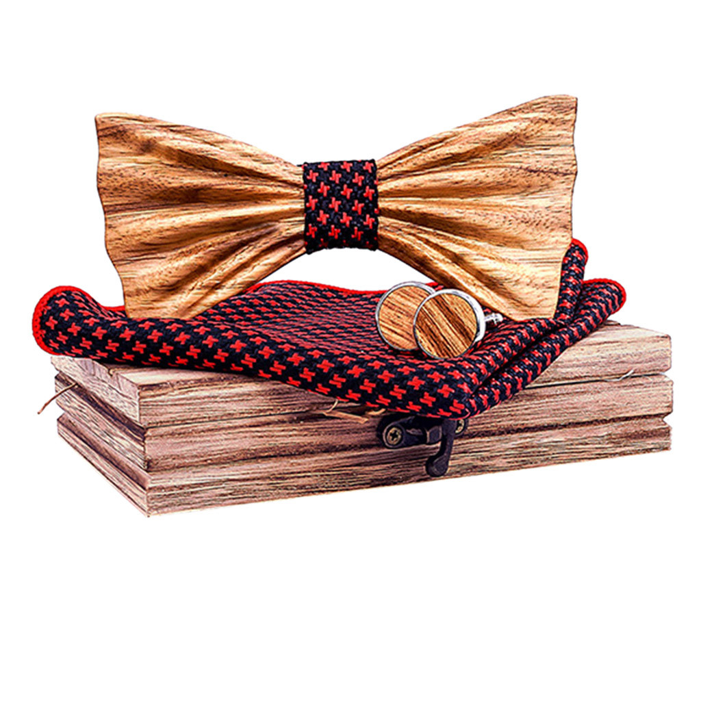 Womail 2019 Fashion Design Unique Hollow Fits All Shirts Wooden Bow Tie Handkerchief Manual Wooden Bow Tie Handkerchief Set