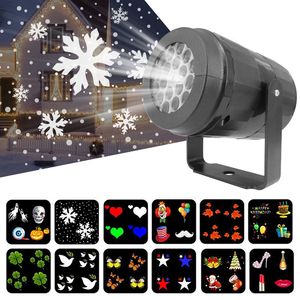 LED Snowflake 12 Pattern Light Laser Projector Lamp Move Snow Christmas Rotating Projection Lawn Light for Festival Party Decor