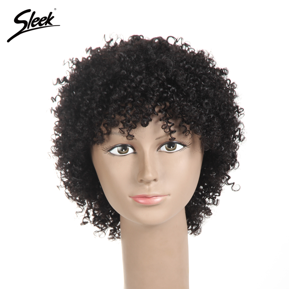 Sleek Brazilian Afro Kinky Curly Weave 1# 1B# And Brown Natural Human Hair Wigs Short Machine Made Remy Hair Wigs парики женские
