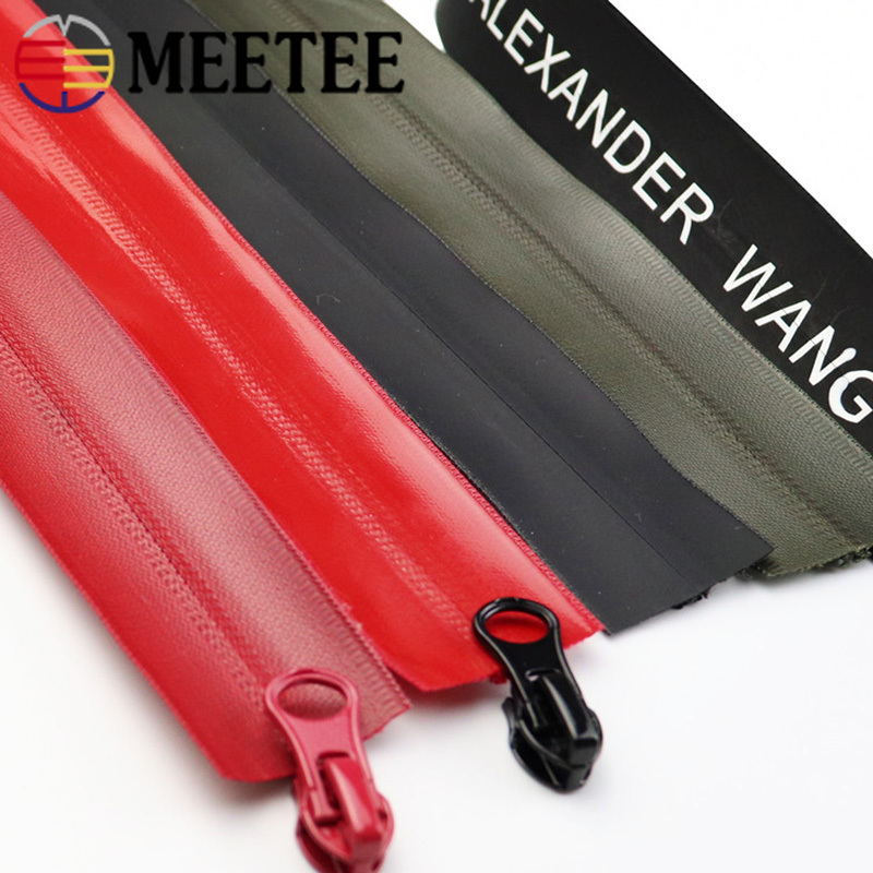 Meetee 100/200cm 5# Nylon Waterproof Zipper Code Nylon Zipper DIY Bag Outdoor Jacket Clothing Zip Tailor Sewing Accessory ZA014