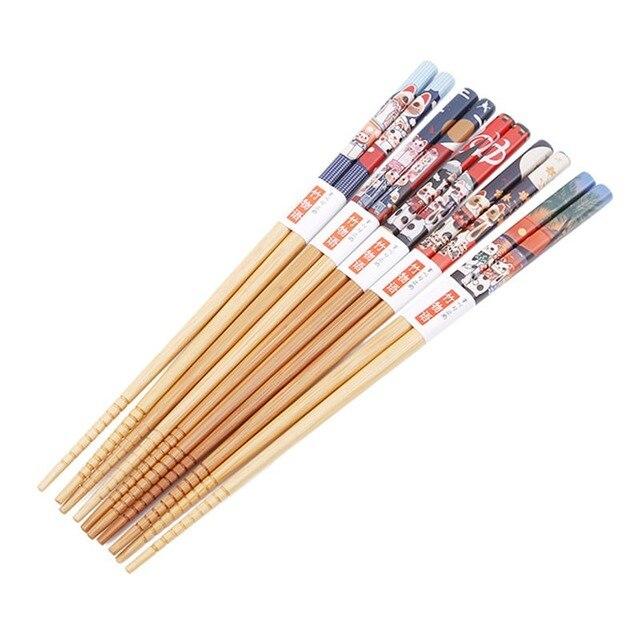 5 пар ручных палочек для еды из натурального бамбука здоровые фотография