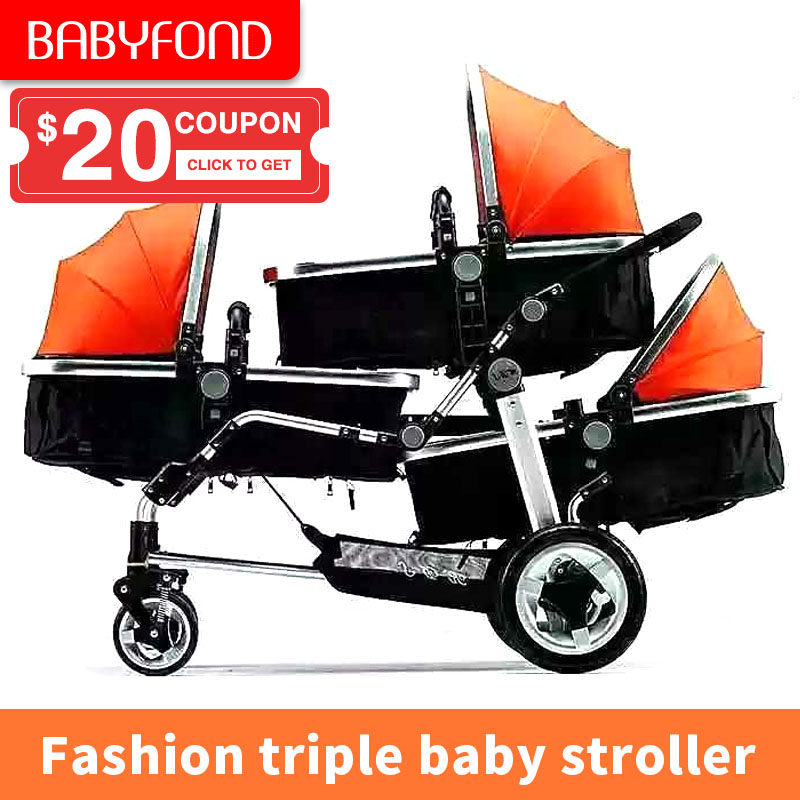 2019 New Triple Baby Stroller Easy Folding Twin Three Baby Stroller PU Wheel Shock Absorber There Baby Pram