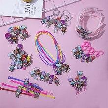 Lol surpresa bonecas aleatórias 1 pçs borracha macia faixa de cabelo bandana para meninas hairpin colar anel chave das crianças jóias