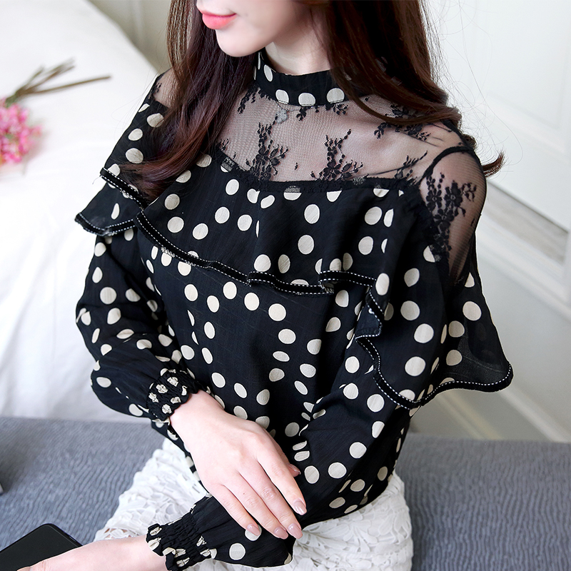 2019 Autumn black lace hollow out blouse shirt Hollow mesh transparent blusas Women long sleeve tops 801B