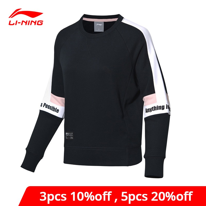 Li-Ning Women The Trend Sweater Loose Fit 88% Cotton 12% Polyester Patchwork Li Ning LiNing Sports Hoodie AWDP084 WWW1027