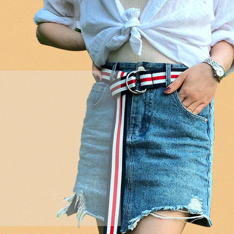 Nylon Canvas Men Belt Fashion Women Waistband Double Buckle Jean Pant Waistbelt