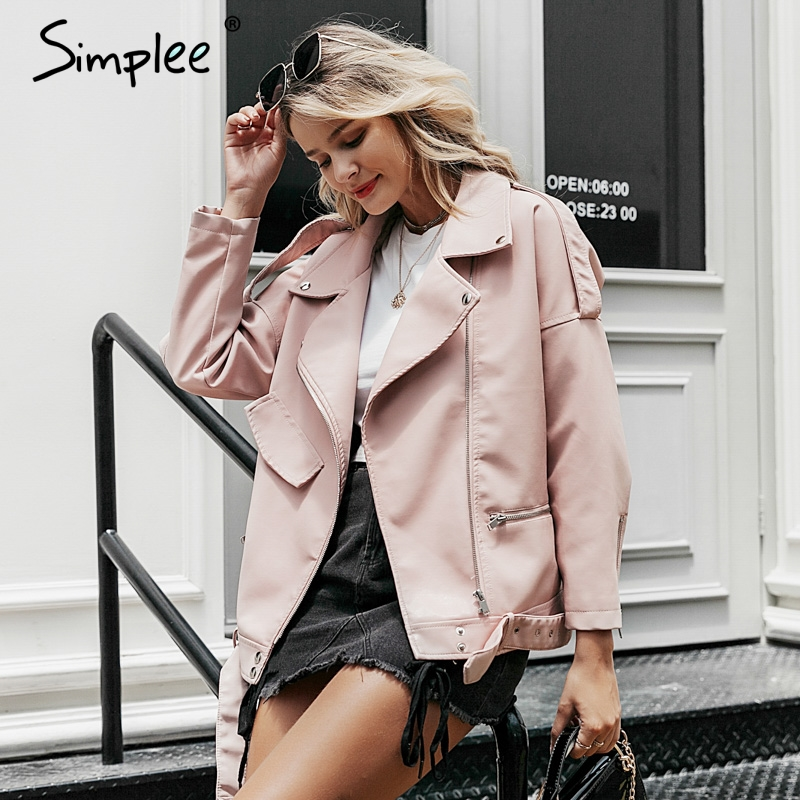 Simplee Faux PU   leather   jacket coat women Zipper long sleeve   leather   outwear coat Asymmetrical motorcycle female basic jacket
