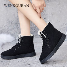 Women Winter Boots Warm Lace Up Ankle Boots Ladies Sude Platform Boots Female Flat Snow Shoes Plush Insole Zapatos De Mujer 2020(China)