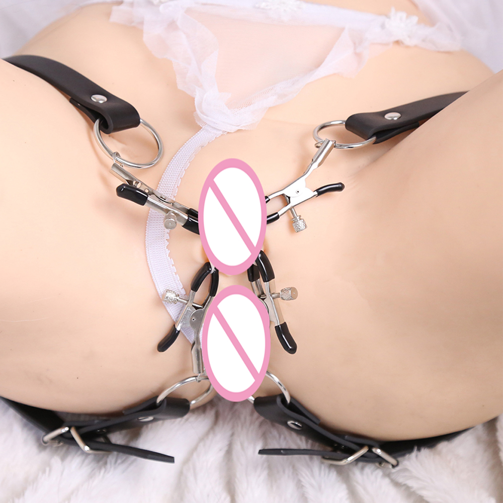BDSM Bondage Restraint Wrap Around Thigh Spread Labia Spreader Straps With Vagina Clamps,Humiliation Play Nipple Clamps Roleplay