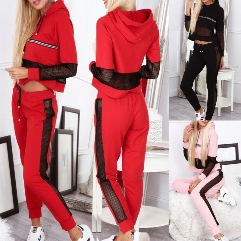 2Pcs Women Ladies Fashion Mesh Long Sleeve Tracksuits Lounge-wear Jogging Sets Hooded Crop Tops Pants Sport Hoodies Sweatshirt