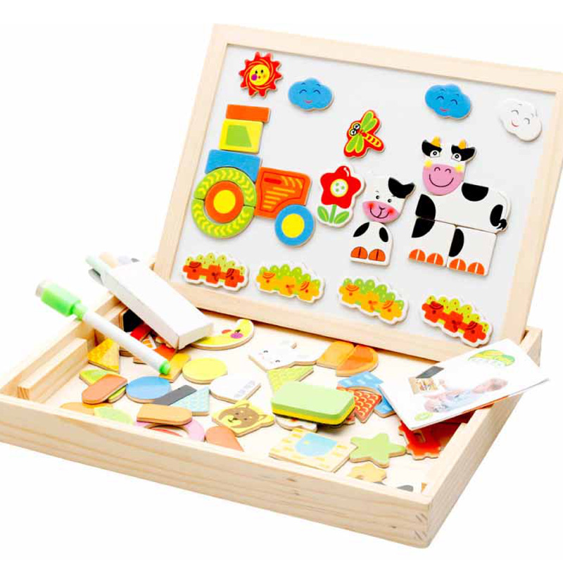 Hot-Drawing Writing Board Magnetic Puzzle Double Easel Kid Wooden Toy Sketchpad Gift Children Intelligence Education Development