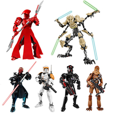 Star Wars Action Figure Starwars Luke Leia JAR Sith Trooper Grievous Han Solo Maz Anakin Darth Vader Yoda Building Blocks Toys цена