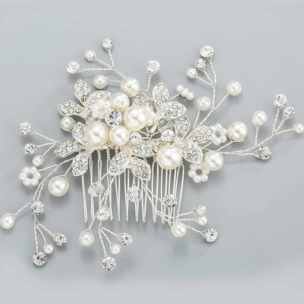 Kristal Mutiara Pernikahan Aksesoris Rambut Sisir Mutiara Pin Pegangan Diamante Rambut Perhiasan Jepit Rambut Hiasan Headpieces