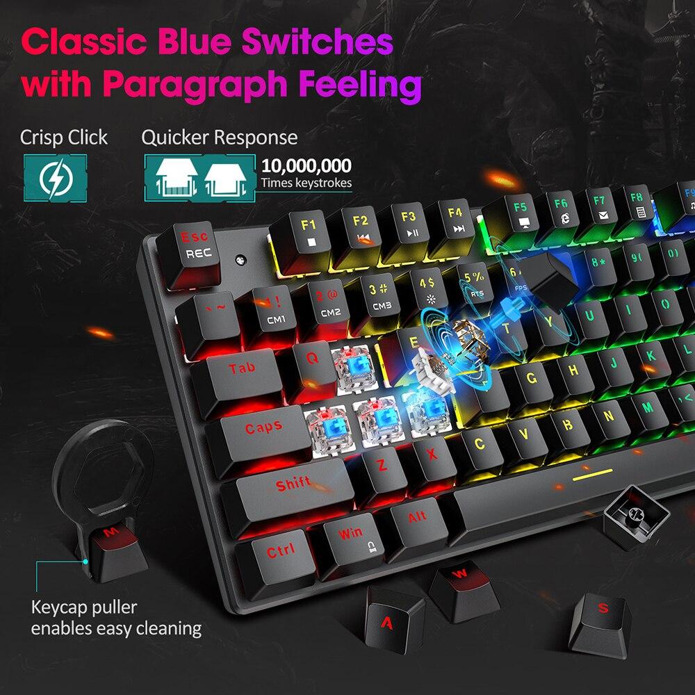 שנאים וספקי כוח PICTEK PC244 Wired Gaming Keyboard מקלדת מכנית RGB LED עם תאורה אחורית USB כחול החלף 87 מפתחות keycaps עבור גיימר PC מחשב (2)