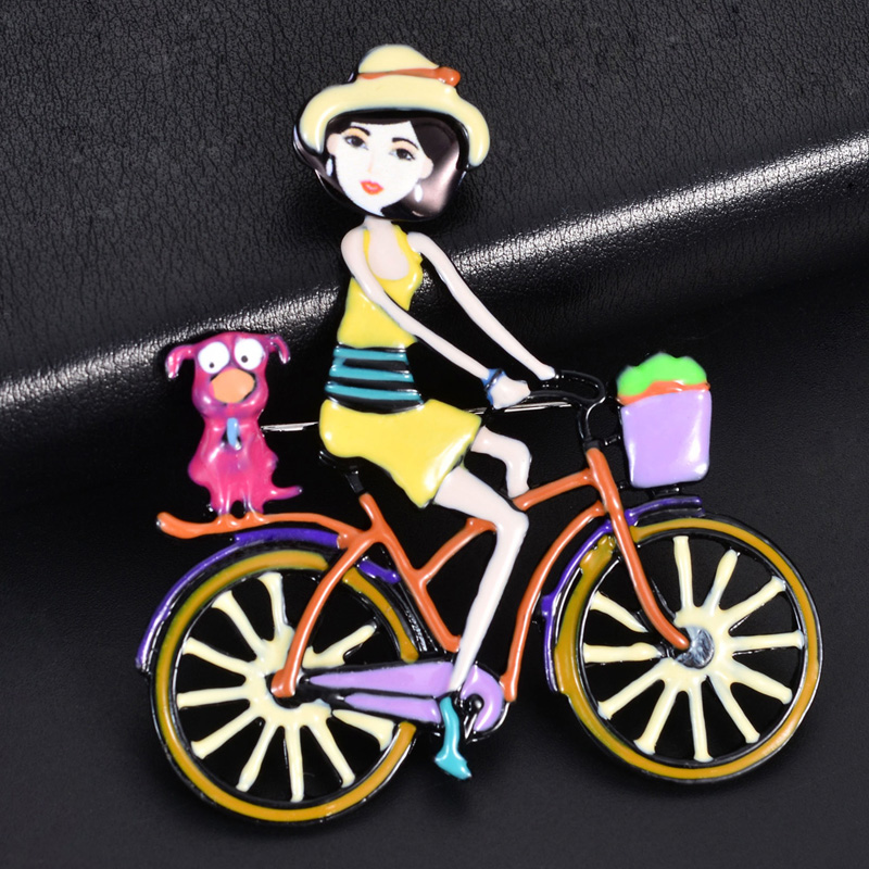 D Rui Jewelry Cute Metal Girl Riding a Bike Brooches Pins Fashion New Design Enamel Brooch Pin for Woman Brand Christmas Gift in Brooches from Jewelry Accessories