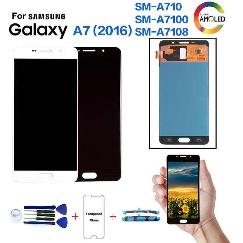 الأصلي لسامسونج A7 (2016) A710 SM-A710F شاشة الكريستال السائل شاشة قطع غيار سامسونج A710FD A7100 A7108 عرض وحدة LCD
