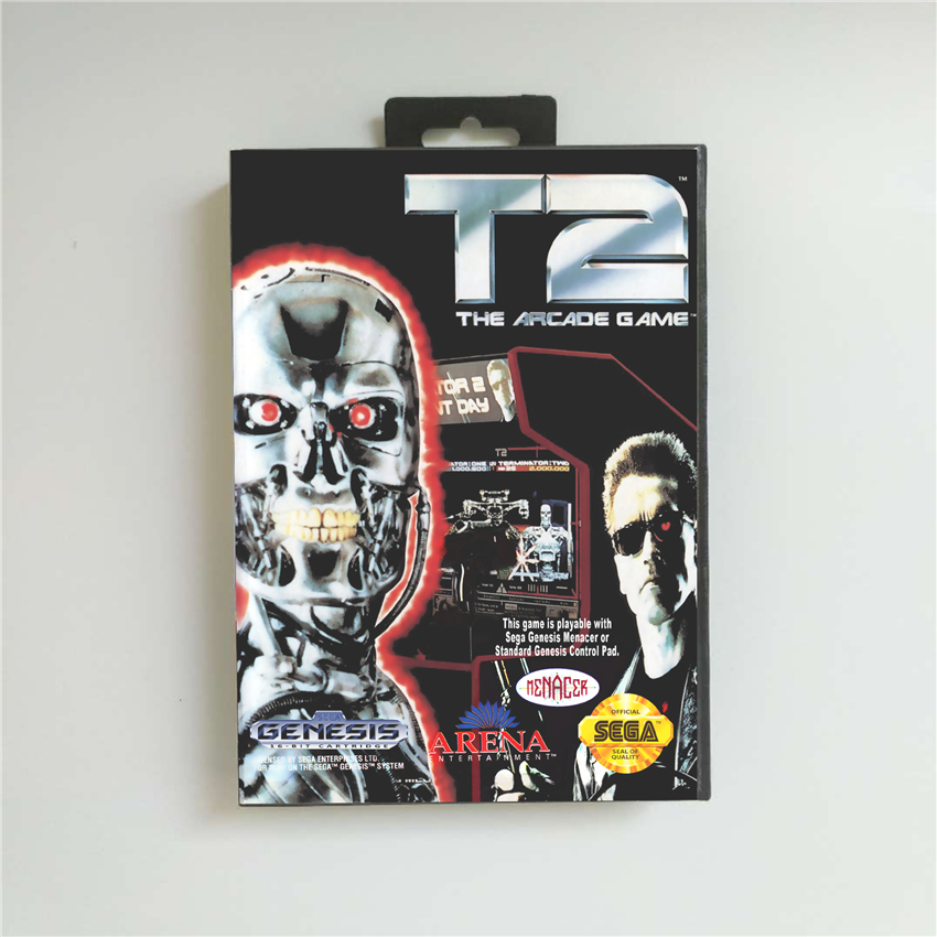 T2 The Arcade Game - USA Cover With Retail Box 16 Bit MD Game Card for Sega Megadrive Genesis Video Game Console