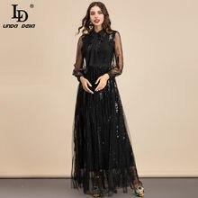 LD LINDA DELLA 2021 Summer Fashion Designer abiti lunghi Maxi neri abito da donna elegante con paillettes in maglia con collo a fiocco