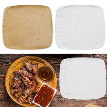 100 Sheets New Air Fryer Square Baking Paper Non-Stick Steaming Basket Mat Silicone Oil Paper Bun Cake Paper Kitchen Accessories