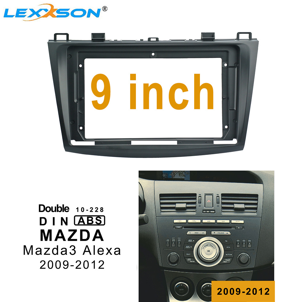 9 inch Car Fascia Trim Kit For <font><b>Mazda</b></font> <font><b>3</b></font> 2009-2012 Double Din Fascia Audio Fitting Adaptor Facia Panel Double Din DVD car frame image