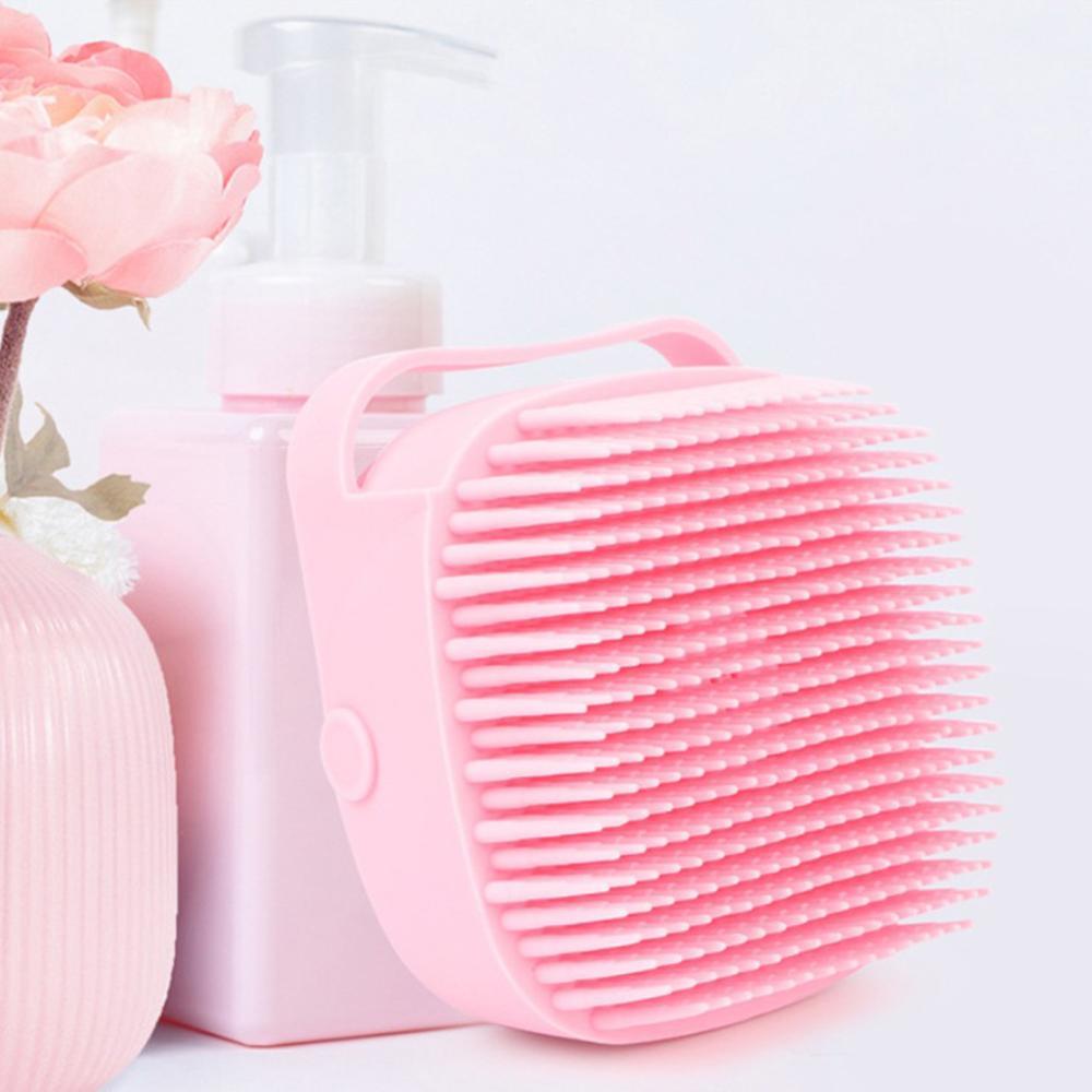 Yumuşak peeling saç banyo fırçası banyo silikon sürtünme masaj banyo duş temizleme vücut ovucu şampuan konteyner fırça Banyo Fırçaları, Süngerler ve Ovalayıcılar  - AliExpress