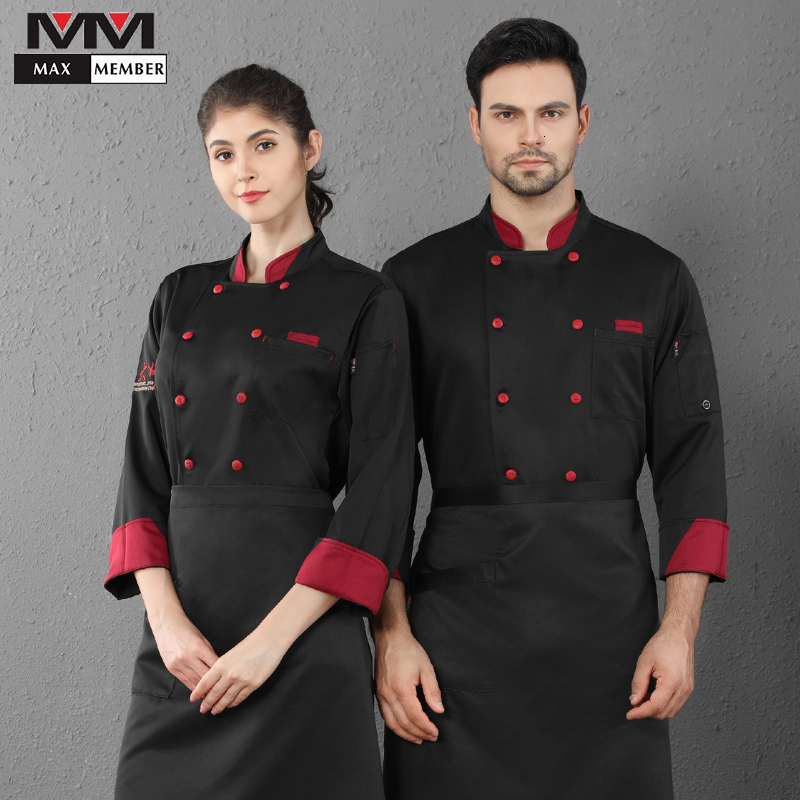 Double Breasted Long Sleeve Stand Collar Chef Uniform Unisex Kitchen Cooking Jacket Canteen Cafe Bakery Hair Salon Waiter Coat