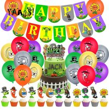 32 pçs/set col-festa plantas vs zumbis balões com bolo topper banner feliz aniversário chá de fraldas suprimentos de festa decorações