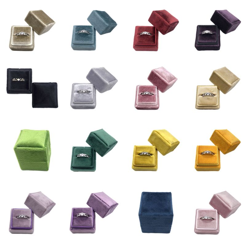 16 Color Velvet Single Ring Box Square Wedding Ceremony Ring Box With Detachable Lid