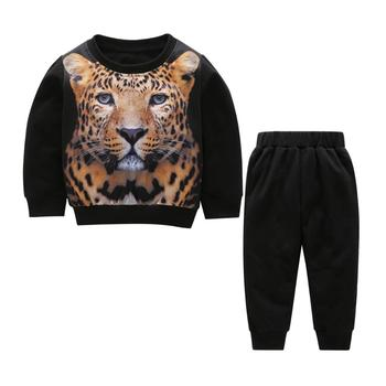 Children Clothing Sets Toddler Leopard Pattern Girls Boys Clothes Baby Kids Full Sleeve Shirt+Pants