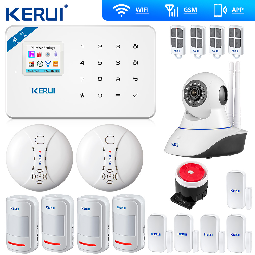 Kerui W18 <font><b>Wireless</b></font> Wifi GSM IOS Android APP Control LCD GSM SMS Home <font><b>Burglar</b></font> <font><b>Alarm</b></font> <font><b>System</b></font> PIR Smoke Sensor Indoor Wifi Camera image