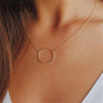 ROXI Simple 925 Sterling Silver Necklace Karma Round Circle Pendant Necklace for Women Fashion Clavicle Chain Statement Necklace roxi minimalist small round pendant necklace women 925 sterling silver necklace geometric karma circle necklace choker collares